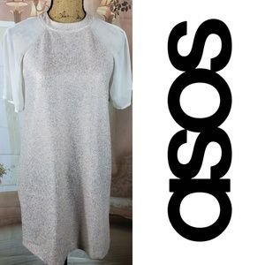 Asos Shimmer Tunic Dress with Sheer Sleeves